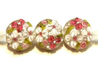 One (1) Puffy Lampwork Lentil Bead Covered in Pink Flowers - Lot UU
