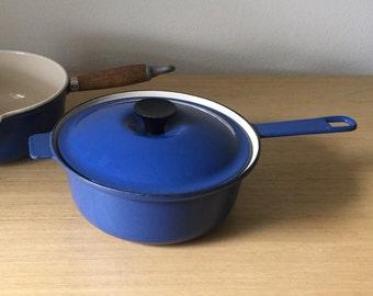vintage blue le creuset pot with lid - 22