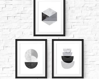 Abstract art set, Scandinavian print, Set of 3 prints, Printable wall art, Abstract art prints, Black and white, Printable prints