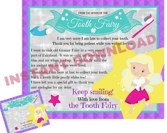 Late Tooth Fairy Letter, Tooth Fairy Apology Letter