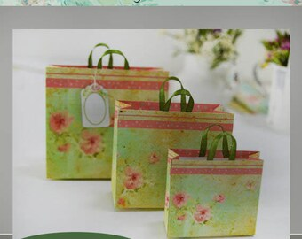 DIY project, Miniature shopping bag template, Make your own mini bags.Scale 12 and scale 6.. Total 6 bags template