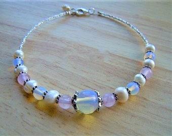 Fertility Anklet Ankle Bracelet Rose Quartz Freshwater Pearl Opalite Love Balance Fertility Jewelry Fertility Stones Birthday Gift