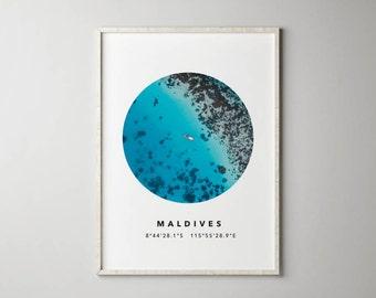 Maldives Print - Printable Wall Art, Printable Poster, Aerial Photo, Circle Print, Ocean, Nature Photo, GPS, Photo Print, Beach House