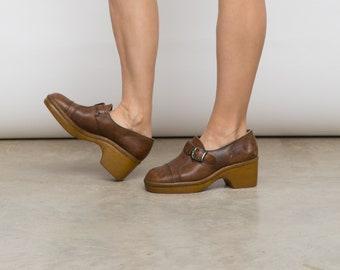 60s Vintage Brown Granny Shoes /  EU 38.5 - 39, UK Size 5.5, US 8/ Leather Buckle Platform Hippie Wedges /
