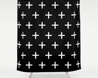 Swiss Cross Shower Curtain, Black and White Standard or Extra Long Fabric Shower Curtain, Bathroom Decor, Scandinavian Design Bath Curtain