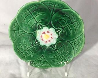 Majolica Plate Shaped Like A Lily Pad