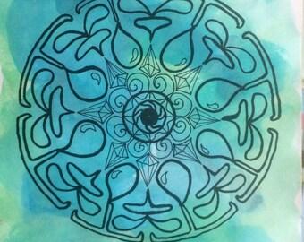 Water Mandala Sticker // Water Symbol Art // Water Protector // Water Magic Artwork // Blue Watercolor Mandala Sticker