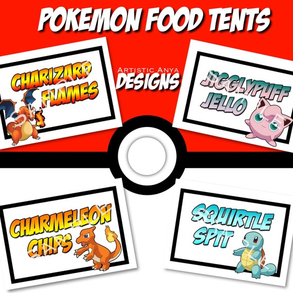 Pokemon food tents printable instant download digital file for Pokemon cuisine