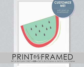Watermelon PRINT or FRAMED PRINT | Fruit | Home Decor | Nursery Print | Shower Gift | Baby Gift | New Baby | Watercolor | Summer | Red