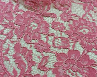 Pink Lace fabric by the yard, French Lace, Embroidered lace, Wedding Lace, Bridal lace, Evening dress lace Lingerie Lace Alencon Lace L21925