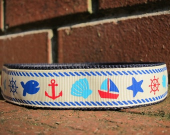 Nautical Summer Boat Adjustable  Dog Collar Made to Order