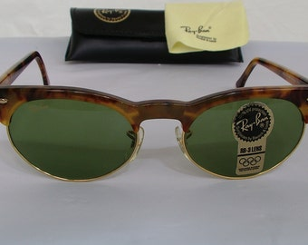 New Vintage B&L Ray Ban Oval Max Blonde Tortoise RB-3 Green W1268 Sunglasses