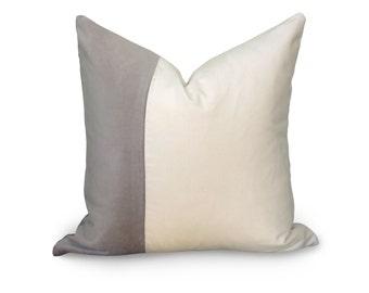 VELVET COLORBLOCK // more sizes - Gray and White Velvet Pillow Cover - Gray Pillow - White Pillow - Decorative Pillow - Designer Pillow