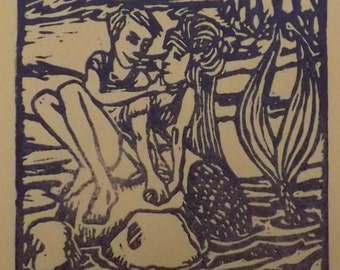 "4x6"" mermaid block print ""Love's Harbour"""