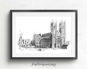 Westminster Abbey, westminster print, london art print, london wall art, london skyline, architectural drawing london artwork london wall