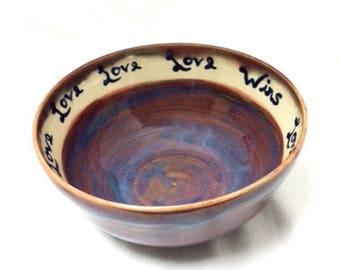 Love Wins Ceramic Bowl in Plum, Purple, Blue, White, Ceramic Cereal Bowl, Ceramic Soup Bowl, Ceramic Snack Bowl, Ceramic Serving Bowl, Love