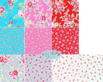 Lecien, Flower Sugar Paisley Wind, Fat Quarter Bundle, Pink Roses on Grey Quilting Fabric, Fabric, Vintage Fabric