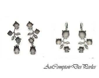 Base pour Boucles d'oreilles fleurs argent antique à sertir, à clou ou dormeuse, 1 paire