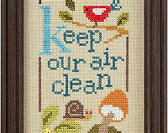 Lizzie Kate Green Flip-It Series - Keep Our Air Clean F95 Counted Cross Stitch Pattern with Button
