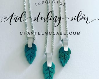 Turquoise gemstone leaf pendant and sterling silver necklace, Perth Western Australia
