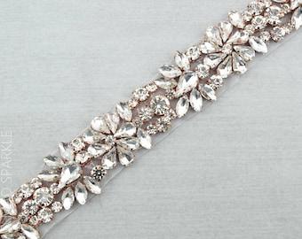 Rose Gold Rhinestone Applique, Crystal Trim by the yard, bridal trim, luxury rose gold rhinestone applique, rose gold applique //M051