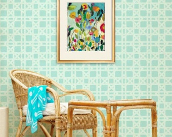 Large Rattan Pattern Wallpaper Look with Wall Stencil for Easy Painted DIY Decor