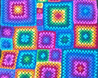 Rainbow Granny Blanket Pattern and Join-as-you-go Tutorial