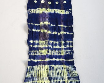 felted wallhanging or scarf Ocean, shibori dyed, 100% wool and silk