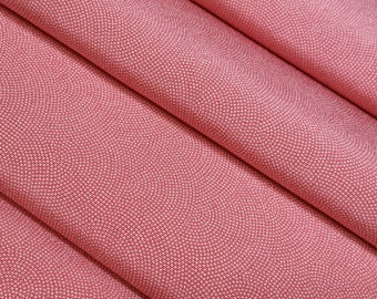 Silk crepe kimono fabric - salmon pink crescent wave - by the yard
