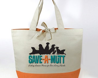 Save-A-Mutt Cotton Canvas Tote Bag - Orange Bottom