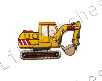 Yellow Wheeled Loader Patch - Cute Truck - Car Patch New Sew / Iron On Patch Embroidered Applique Size 9.5cm.x5.6cm.