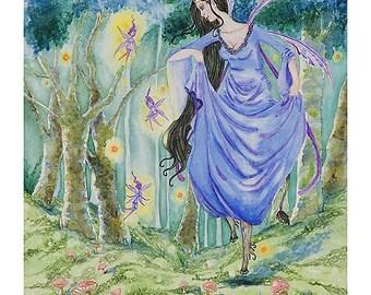 """Print of ORIGINAL watercolor painting """"Spirit Of The Wood"""""""