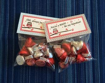 Owl Valentine Bag Topper - Instant Download - Valentine's Day Digital Printable -  Valentine Bag Topper - Kids Valentines - Owl Treat Bags