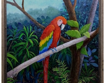 Scarlet Macaw Parrot in Tropical Setting Oil Painting by Steinbach