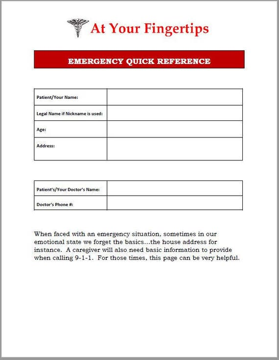 emergency quick reference template