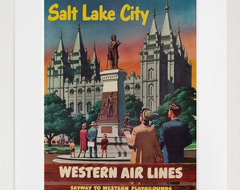 Salt Lake City Art Vintage Travel Poster Print Home Utah Wall Decor (XR285)