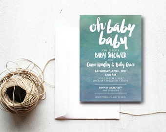 INSTANT DOWNLOAD baby shower invitation / watercolor invite / blue ombre baby shower / blue baby shower / baby boy shower / DIY invitation