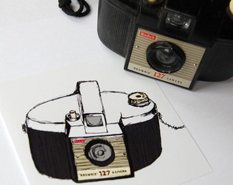 Vintage Brownie Camera Illustration -  5 x 5 (Small)