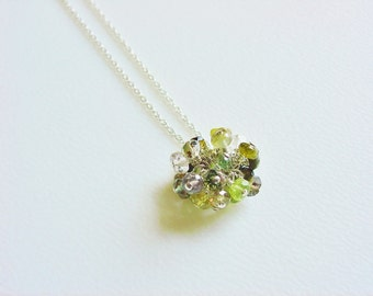 Gorgeous Green Gemstone Pom Pom Cluster Necklace on Fine Sterling Silver Chain / Tourmaline / Peridot / Smoky Topaz / Aquamarine / Quartz