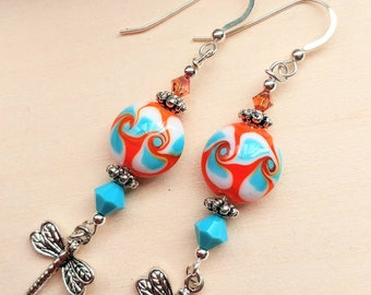 Orange Turquoise and White Artisan Lampwork and Swarovski Crystal & Dragonfly Earrings