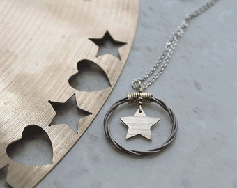 Status Cymbal Star Pendant - silver chain