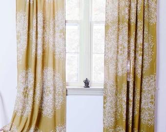 Yellow Curtain Panels Window Curtains Treatment Mustard Printed Home Living  Houseware  ONE Panel   Tree