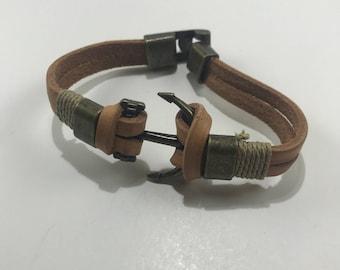Tan Anchored Leather Wrist Strap