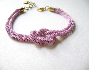 Infinity knot bracelet - Delicate feminine bracelet - Lilac bracet Golden Valentines gift