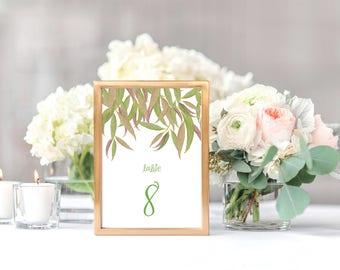 gum leaf printable table numbers - seating arrangement, tree, forest, bush, reception decor, table decor, downloadable diy, australian