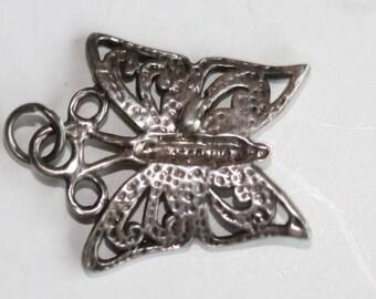 Vintage sterling silver filigree swirl design butterfly charm