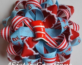 Custom Print Ribbon Dr Seuss Flower Loop bow with Custom Resin and Moonstitch Ribbon
