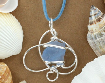 Light Cobalt Sea Glass Necklace