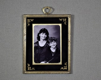 Art Deco Photo Mat Black Suede Double Mat Handpainted Size 8x10 to fit  5x7 or 4x6 Photo