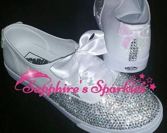 White Vans Customised Vans Bride Vans Bling Vans White Vans Wedding Vans Wedding Shoes Bride Shoes Prom Shoes Prom Vans Crystal Bride Pump